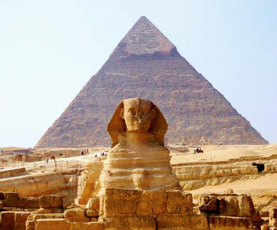 the Great Pyramid and the Sphinx of Giza.